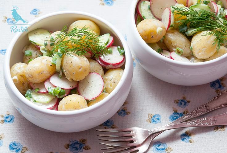 Vegan creamy baby potatoes salad. #vegan #no dairy #summer salad