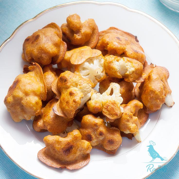 Cauliflower wings with radish sprouts raita. #vegan #glutenfree #nodairy #noeggs