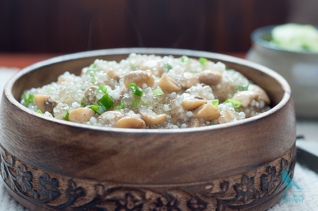 Tapioca pearls with button mushrooms #vegan #gluten free