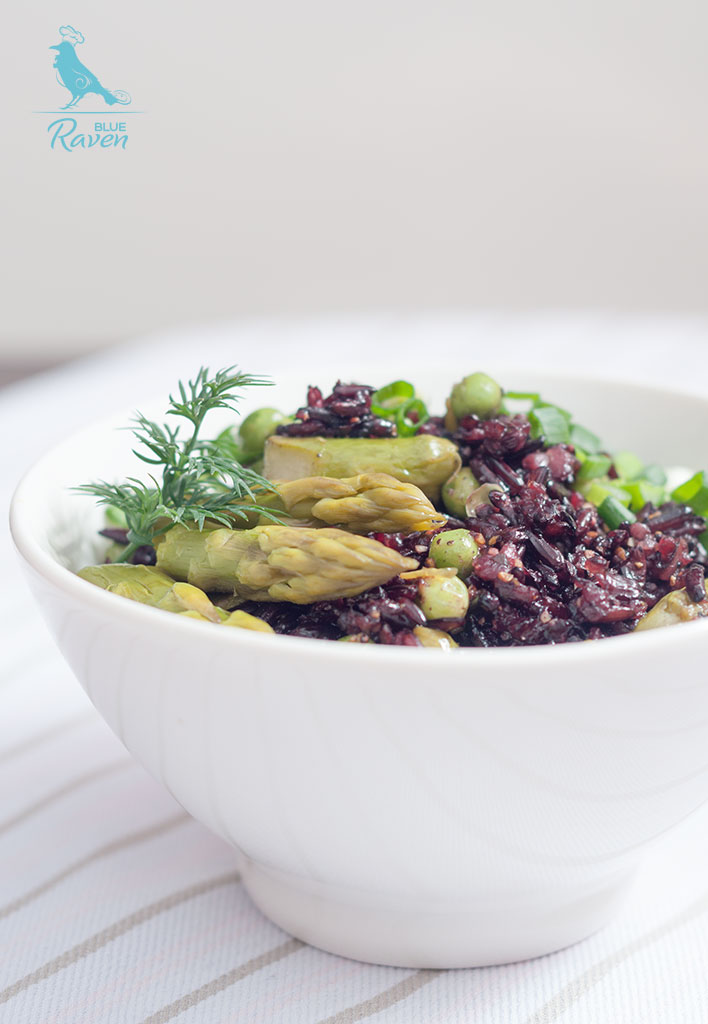 Black rice with asparagus and green peas #vegan #gluten free