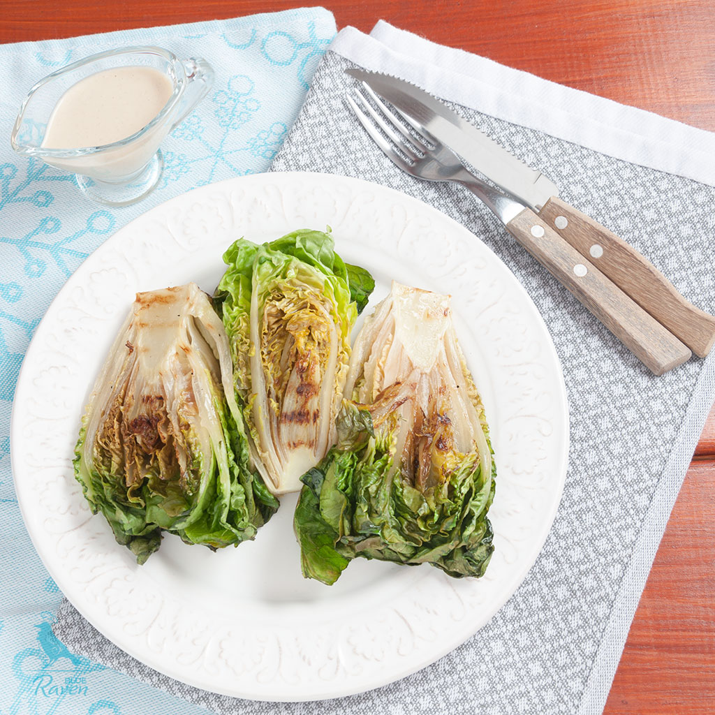 Grilled romaine with the best tahini sauce #vegan #glutenfree