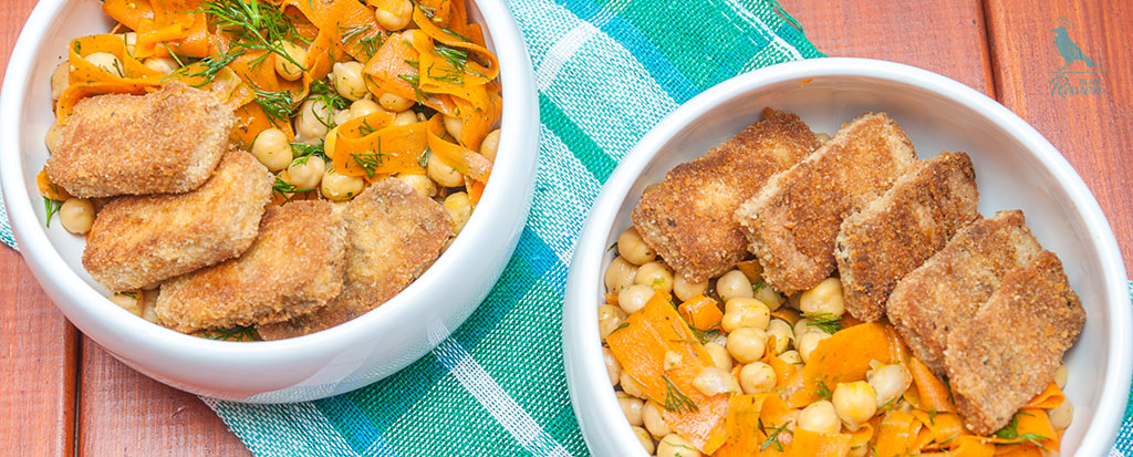#Chickpeas, carrot and dill salad with cajun tofu #salad #vegan #tofu #cajun-seasoning